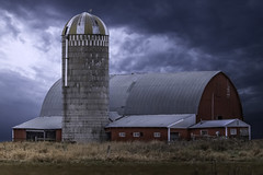 Too Many Changes (henryhintermeister) Tags: barns minnesota oldbarns clouds farming countryliving country sunsets storms sunrises pastures nostalgia skies outdoors seasons fields hay silos dairybarns building architecture outdoor winter serene grass landscape plants cloudsstormssuns moramn