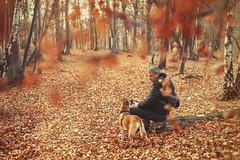 November conversations... (petrapetruta) Tags: man dog forest autumn leaves