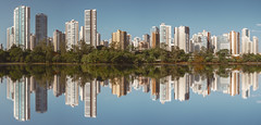 Igapó lake (marcelo.guerra.fotos) Tags: architecture architect arquitetura brasil brazil beautiful city detail downtown d7100 edification interestingness igapólake igapó jardim keepwalking londrina landscape lagoigapó lake morning nikon nature photography paraná build center flat lagoon reflection concrete blue sky
