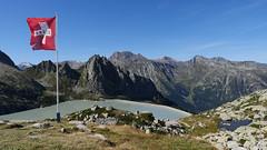 Auf der Albigna-Hütte; unten der Albigna-Stausee, dahinter die Spazzacaldeira (Bergell, Graubünden) (13/09/2019 -18) (Cary Greisch) Tags: albigna bergell che capannadalalbigna carygreisch kantongraubünden läghdalalbigna see spazzacaldeira switzerland valbregaglia lac