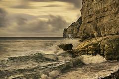 Beer Beach - England (Helmut Wendeler aus Hanau) Tags: time blending england beer waves longexposure cliff clouds