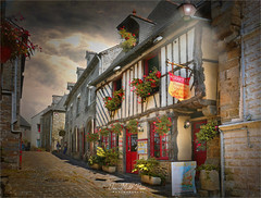 White house (Jean-Michel Priaux) Tags: village city chartres eureetloire loire france medieval colombabe patrimony flowers priaux place way rue pathway luminar hdr red white light