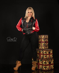 RoseMaria - Commercial Jackets (KellyKooper) Tags: kellykooper commercial editorial smiling smile rosemaria leather jacket garybradshawphotography boots pose studio black red