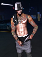 ☠ DANGEROUS (Shock Q'Kell) Tags: secondlife sl bloggers slbloggers lelutka head bento mesh guy signature body gianni event male men man boy tmd equal10 dubai mancave exalted realevil rings speakeasy tattoo sltattoo volkstone beard facialhair amias bracelet lob joggers thebeardedguy backdrop jflrealhats hat dubaievent style photo slphoto moda slmoda
