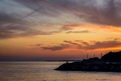 夕暮れ釣り師ーFisherman at sunset (kurumaebi) Tags: yamaguchi 秋穂 山口市 nikon d750 nature landscape sea 海 cloud 雲 dusk suneset 夕焼け