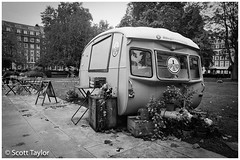 Caravan Cafe (Scrufftie) Tags: ilfordxp2super400 canona1 blackwhite 400asa canon canonfd24mmf28 analogue photoshop monochrome mono 35mmfilm streetphotography scanned style c41process bw ilford lightroom film