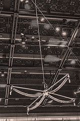 """MoMA Exhibit - """"David Tudor and Composers - Inside Electronics, Inc - RAINFOREST V (VARIATION 1)"""" (nrhodesphotos(the_eye_of_the_moment)) Tags: dsc004573001084 moma artexhibit metal indoors hanging ceiling wires museum manhattan nyc davidtudorandcomposersinsideelectronicsincrainforestvvariation1 sonictransducers plastictubes computerharddisc lighting metalbars"""