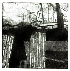 Shack Shadows 1 (larosecarmine) Tags: sugar lift etching shacks sheds slum printmaking reportage documentary caroline johnson fine artist urban sketcher