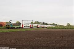 NMBS 2745 & 2746 met M6 - Essen (B) 27-04-2018. (Reizigerstreinen & trams) Tags: 2745 3746 ic intercity 4531 vharleroi essen vlaanderen belgië belgium hle27 nmbs sncb trein train loc locomotive rail zug m6
