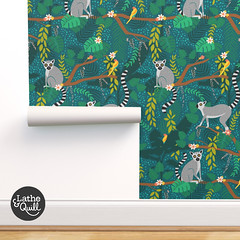 Teal Lemur Pattern Design (latheandquill) Tags: ringtail ringtailed lemur jungle tropical teal green birds wallpaper fabric pattern design illustration animal nursery home decor spoonflower forest leaves monstera palm tree
