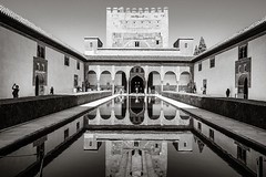 Water Mirror (Poul-Werner) Tags: alhambra andalusia andalusien blackwhitephotos gislevrejser granada spain architecture bw documentary geometry mirroring pattern reportage spejling travel travelbycoachorbus urban granadaprovince
