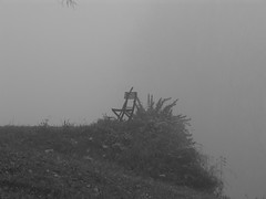 SOMEWHERE AT THE END OF THE WOOD/WORLD I (LitterART) Tags: monochrome fog nebula nebel chair stuhl sessel