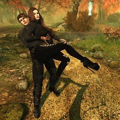 Happiness Is A Moment With You 🍂💞 (Scarlett Saphira) Tags: fall season autumn photography art artwork sl secondlife second life game virtual world couple bento avatar catwa magy victor head model pose loving love lovers lover wife husband happy moment happiness joy fuck carry hold her pick up maitreya signature black outfit long sleeves sweater top pants boots brown hair november 2019 with mylove