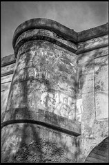 looking up, architectural forms, railroad bridge, urban decay, Asheville, NC, Minolta XG-M, Super Albinon, Derev Pan 400, HC-110 developer, 11.13.19 (steve aimone) Tags: lookingup architecture bridge railroadbridge concrete graffiti urbandecay asheville northcarolina minoltaxgm superalbinon28mmf28 primelens derevpan400 hc110developer 35mm 35mmfilm film monochrome monochromatic blackandwhite