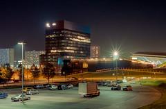 Katowice, Poland. (wojszyca) Tags: nikon fm2 50mm fuji superia premium 400 city night longexposure architecture urbanlandscape katowice poland ktw superjednostka spodek mck