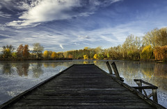 Morning walk (Gergő Kardos) Tags: silent filter clouds sky clear colorful nature pier lake fall autumn forest trees