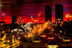 VISUALIZING THE FUTURE. (Viktor Manuel 990.) Tags: night noche city ciudad cars coches lights luces horse caballo man horserider jinete composition surrealism digitalartandpainting arteypinturadigital querétaro méxico victormanuelgómezg