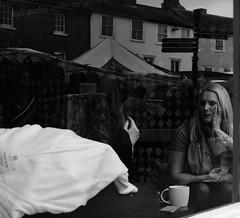 Cafe Culture (Bury Gardener) Tags: burystedmunds suffolk england eastanglia uk 2019 streetphotography street streetcandids snaps strangers candid candids people peoplewatching folks fujixt3 fuji fujifilm britain bw blackandwhite monochrome mono buttermarket