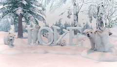Have you ever seen polar bears? (Rose Sternberg) Tags: second life deco decor home garden interior outdoor landscape 2019 tm creation love bear polar white nature scene wa19 winter placed piles snow with snowy rocks words bears grass marine mammal lovely