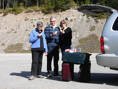 Picnic Lunch on the Icefields Parkway, Alberta (Joseph Hollick) Tags: lunch eating suitcase alberta icefieldsparkway road picnic food table