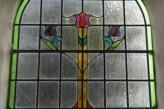 GlassTulips (Tony Tooth) Tags: nikon d7100 sigma 70mm glass stainedglass window church tulips flowers simple simplicity cauldon staffs staffordshire artsandcrafts artnouveau jugendstil