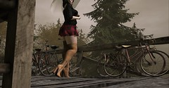 Daring the Rain (Miru in SL) Tags: second life sl mesh pink charcoal tres blah stun poses dubai event borneo umbrella bikes nature trees shoes boots