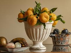 Bodegón (LUIS FELICIANO) Tags: bodegon stilllife adhuc vivere adhucvivere naturamorta mandarinas platanos ciruelas jaron interior panasonic lumix g9 lent50mmmacro vigo galicia españa