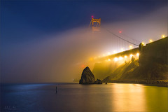 Under the Moonlight (milton sun) Tags: lowfogevent sausalito sanfrancisco lowfog foginsf goldengatebridge bridge longexposure dusk seascape bay bayarea wave ocean shore seaside coast california westcoast pacificocean landscape outdoor clouds sky water rock rollinghills sea sand beach cliff lights