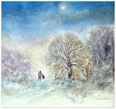 Watercolour:..Winter Pleasures... (Nadia Minic) Tags: winter wood snow trees mood nature dog walk pleasure watercolour art nadiaminicartist luxembourg