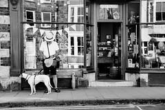Just One Look (plot19) Tags: britain british blackwhite uk wales man dog street nikon plot19 photography portrait people reflection shot barmouth door doorway
