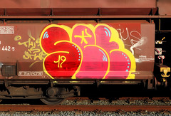Graffiti on Freights (wojofoto) Tags: amsterdam nederland netherland holland güterzug cargotrain vrachttrein freighttraingraffiti freighttrain freights fr8 graffiti streetart wojofoto wolfgangjosten set throwup throw throwups throws
