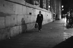The zen woman (pascalcolin1) Tags: paris femme woman nuit night lumière light ombre shade zen photoderue streetview urbanarte noiretblanc blackandwhite photopascalcolin 50mm canon50mm canon mur wall