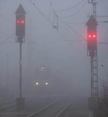 Novemberblues (8) (Klaus Z.) Tags: eisenbahn kbs 395 bahnhof leer ostfriesland signale personenzug triebwagen westfalenbahn herbst nebel