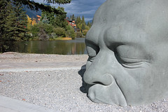 Big Head by the Water (JB by the Sea) Tags: canmore alberta canada september2019 rockies rockymountains canadianrockies statue publicart alhenderson