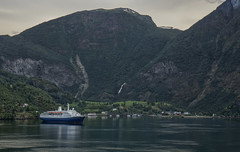 Flåm (Siggi007 - Is busy with work for the time being, s) Tags: flåm aurlandsfjorden aurland gudvangen marcopolo landscape landschaft paysage mountains valley fjord village nature trees cruiseship cruise tourism tourists sea water waterfall mountainsides buildings vessel msmarcopolo tranquil traveling outdoors sky scenery seaside canon colour colores vacation norway norwegen norge noruega naturaleza mood 6d