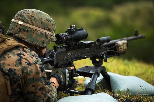 U.S. Marines participate in an M240B machine gun range