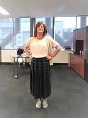Tartan Skirt (justplainrachel) Tags: justplainrachel rachel cd tv crossdresser transvestite redhead skirt tartan plaid blackwatch selfie selfportrait cardigan blouse boho hippy pleated