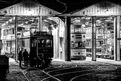 Back at the Sheds #3 (gavsidey) Tags: trams tramway museum crich starlite event night time bw rail ngc d500