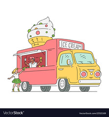 Vector sketch ice cream van in vintage style (Sylviamentecki) Tags: vector ice cream van truck food dessert illustration snack car business delivery isolated sweet transport transportation vehicle background cold icon summer cheerful color eating wheel automobile flat machine speed design refreshment auto wafer white cartoon street retro candy cone milk lorry gourmet seasonal sign treat driver driving merchandise motor