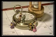 Time Travelers (-Brian Blair-) Tags: odc people pocket watch hourglass miniature calendar time clock metal