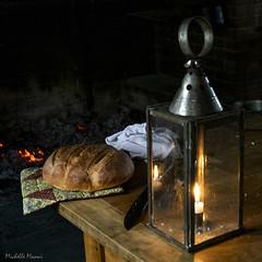 Still life lantern and bread 2 (lamoustique) Tags: fortvancouver washington vancouver usa bread lantern light candle
