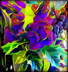 Blue Clash (-Brian Blair-) Tags: ddg abstract leaves berries berry leaf