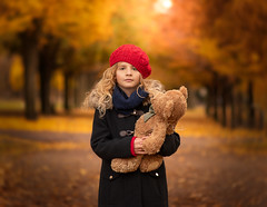 Me and You (www.mkcphotography.uk) Tags: childphotographer childmodel red teddy bridge big city fineart mkcphotocreations mkcphotography portrait glasgow beautiful gorgous autumn fall perfect photography magical