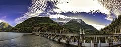Behind The Mountain (campmusa) Tags: mountainrange dam diablo washington skagitriver diablolake skagitriverhydroelectricproject whatcomcounty northcascademountains panoramic