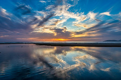 Days Reflection (larwbuck) Tags: birds landscape people autumn beach california clouds colors fall lagoon ocean reflection seascape sunset travel water