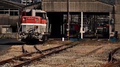 Moji freight terminal station (Sat Sue) Tags: olympus micro four thirds penf m43 japan fukuoka kitakyushu railway railroad shed jr de10