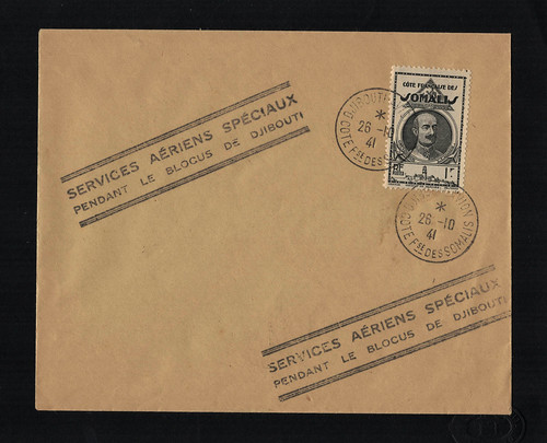 1941 Air France Proof Envelope from Djibouti to Marignane, via Athens, front, #02