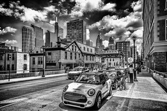 Parking. (Igor Danilov Philadelphia) Tags: street life philadelphia mono bw parking city downtown center contrast sharp sky clouds texture summer july mini cooper nikondslrd750 nikon 2470mm f28