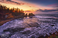 Changing moods (Dave Arnold Photo) Tags: or ore oregon coosbay shoreacres sunsetbay capearago statepark pacific beach coast west northwest tide tidal wave rock mountain tree forest arnold davearnold davearnoldphotocom pic picture photo photography photograph photographer travel charleston empire northbend central awesome canon 5dmkiii 1635mm us usa beautiful idyllic serene peaceful low high sketchy le longexposure where how tour tourist seastack wild logging seaweed fantastic lighthouse professional light