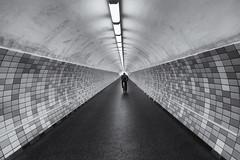 Go ahead (michael_hamburg69) Tags: rendsburg germany deutschland schleswigholstein amaltenschützenhof2 tunnel fusgängertunnel 1965 person stranger ausgangsüd westerrönfeld lonely monochrome unterwegsmitandy fusgängertunnelunterdemnordostseekanal